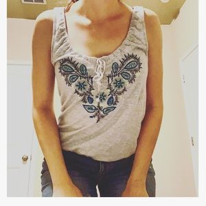 ⭐️ BOGO Embroider Lace Up Top